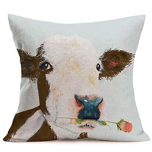 Fundas Cojín Almohada Microfibra 45x45cm Granja Vaca Precioso Animal Rosa Pintura al óleo Dulce (Vaca Linda) Decorativa con Cremallera Invisible Funda Cojín