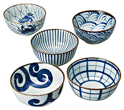 Saikai Pottery Traiditional Japanese Blue And White patterns Japanease Rice Bowls (5 bowls set) 31043 from Japan