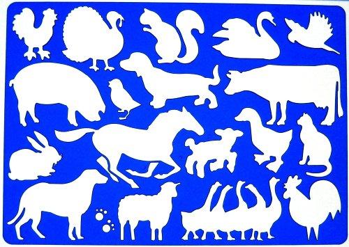 Bauernhof Tiere Schablone Zeichenschablone - Symbole Henne Schwein Türkei Kaninchen Hunde Schwan Schafe Kuh Katze Hahn Enten Pferd Gänse Eichhörnchen Vogel