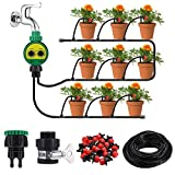 KINGSO Drip Irrigation Kit with Timer 82ft/25M Irrigation System with Timer and 20 Adjustable Dripper Automatic Plant...
