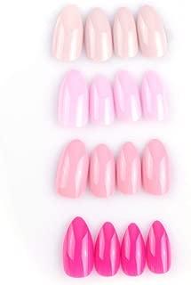 SIUSIO 96Pcs Colorful Acrylic Nails Full Cover Medium Stiletto Matte False Gel Nails Art Tips Set (Rose purples)