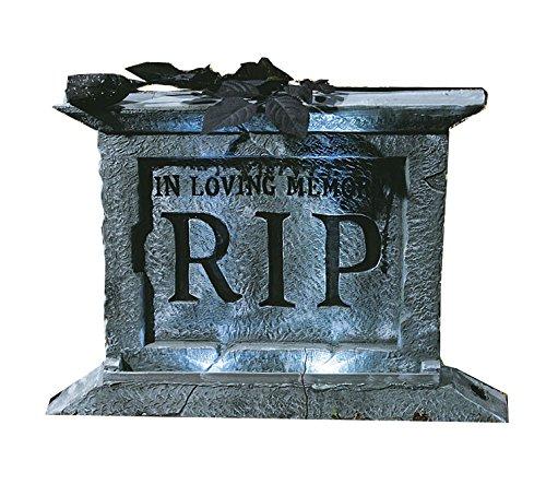 Grabstein mit schwarzer Rose RIP USA Horror College Party Schocker Halloween Hit mit Stroboskop Blitzlicht Effekt auf Knopfdruck