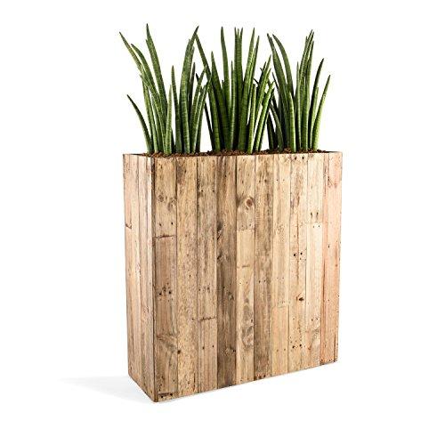 """Pflanzkübelonline Raumteiler """"Woodline High Box"""" Dark Flame Wood Rechteckig 100x93.5x33.5cm - F475"""