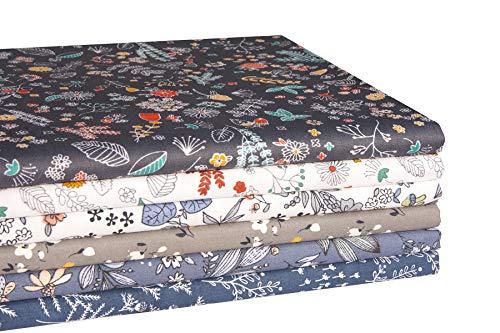 iEFUN 6 Stück 50,8 x 55,9 cm, 100 % Baumwolle, Fat Quarters Stoffbündel, Quilt-Stoff zum Nähen, Basteln (Floral B)