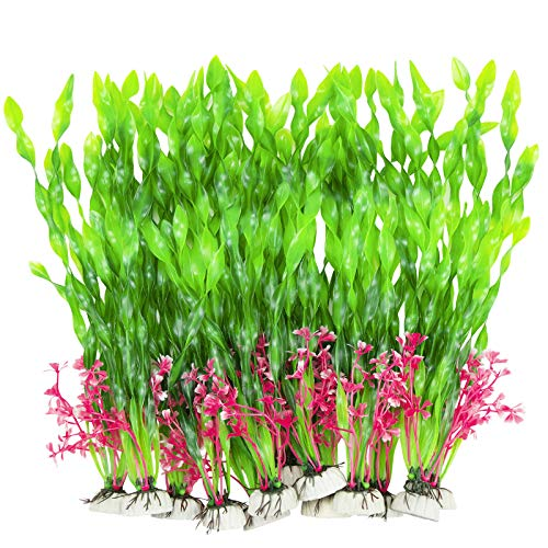 CousDUoBe 12 PCS Artificial Seaweed Water Plants,Plants for Aquarium Decorations, Fish Tank Decorations Suitable for Home and Office Fish Tank Accessories (Green Upgrade)