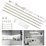LED Under Cabinet Lighting Kit 6.5ft, USB 1200LM LED Light Strip Bars, Under Counter Lighting for Kitchen, Showcase, Closet, 120 LEDs, 6000K White, 4 PCS