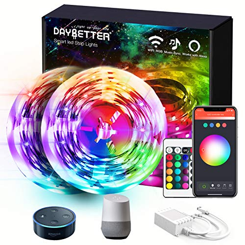 Daybetter 50ft Led Strip Lights with WiFi App Control for Bedroom Home Decoration Work with Alexa and Google Assistant(2 Rolls of 25ft)