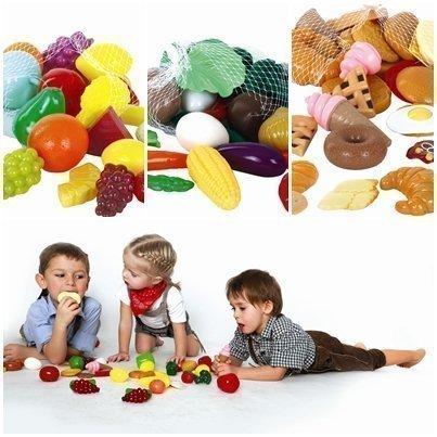 GOWI Spiel-Lebensmittel für Kaufladen oder Spielküche (Früchte Gemüse & Gebäck Set 83tlg)