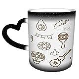 Collezione di icone della linea messicana Tazza/tazza di caffè in ceramica stilizzata con calendula da 11 once