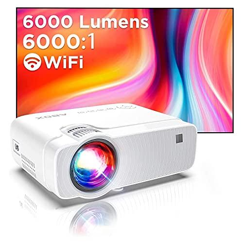 Abox Vidéoprojecteur WiFi, Projecteur Portable 6000 Lumens avec Haut-Parleur HiFi 1080P Supporté Retroprojecteur Home Cinéma 300'' Display Compatible avec Telephones/PC/TV Box/PS4