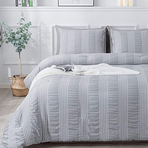 Andency Grey Seersucker Comforter Set Queen Size (90x90 Inch), 3 Pieces (1 Striped Comforter, 2 Pillowcases) Microfiber Down Alternative Bedding Comforter Sets…