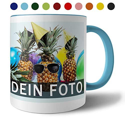 Tasse mit persönlichem Foto und Text zum selbst gestalten (Fototasse, Kaffeebecher mit individuellem Druck, Farbiger Henkel und Trinkrand, mit personalisierbarem Foto, spülmaschinenfest), hellblau