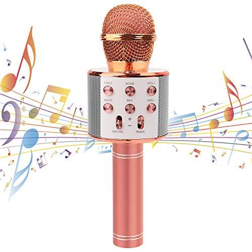 Karaoke Mikrofon Drahtloses Bluetooth Mikrofon für Kinder Bluetooth Mikrophon mit Lautsprecher Tragbares Microphon Kompatibel mit Android IOS PC Geschenk für Erwachsene und Kinder, Rose gold