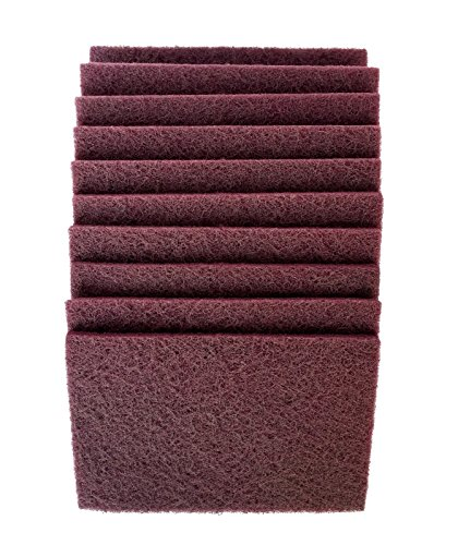 Big Save! 6 Inch x 9 Inch Non Woven Scuff Hand Pads Maroon Very Fine (20 Pack, Maroon)
