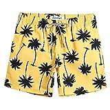 MaaMgic Shorts de Baño para Hombre Ropa de Baño Bañador de Playa Traje de Bañode Secado Rápido para Vacaciones Diseño a Rayas, Coco Amarillo M