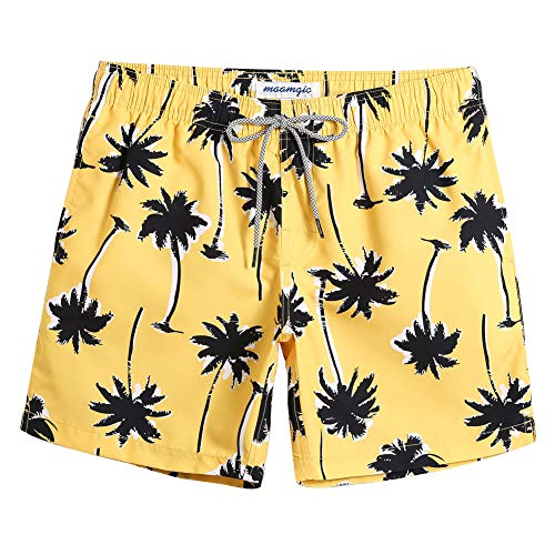 MaaMgic Shorts de Baño para Hombre Shorts de Playa Traje de Bañode Secado Rápido para Vacaciones Diseño a Rayas, Coco Amarillo M