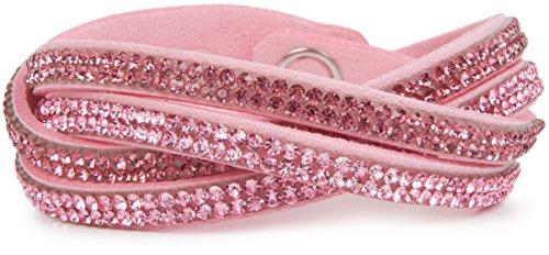 styleBREAKER weiches Strass Armband, eleganter Armschmuck mit Strassteinen, Wickelarmband, 2x2-Reihig, Damen 05040004, Farbe:Rosa/Rosa-Dunkelrosa