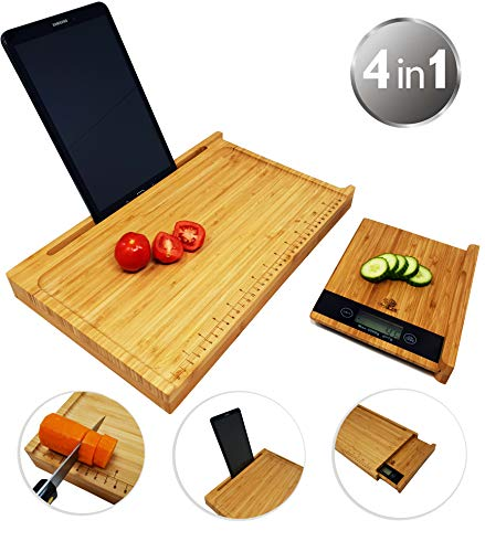 CherryTreeHouse - Tagliere 4 in 1 in bambù con supporto per iPad/tablet, bilancia di misurazione e bilancia di pesatura estraibile, prodotto innovativo per risparmiare spazio e tempo