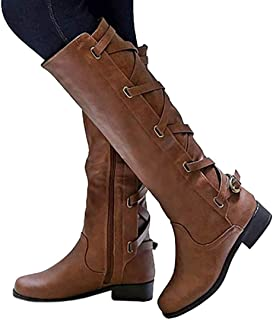 Womens Lace Up Knee High Boots Motorcycle Riding Flat Low...