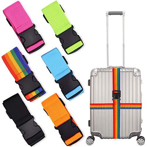 6 Stks Bagage Koffer Banden, Verstelbare Koffer Riemen Reizen Verpakking Riem met Gesp Sluiting Bagage Veiligheidsbanden 6 Kleuren