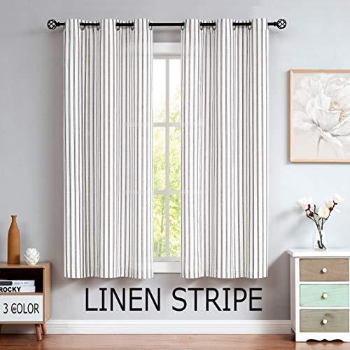 "Randall Linen Semi Sheer Curtain Panels 84"" Long for Living Room Stripe Farm House Rustic Contemporary Window Treatment Sets Drape, Black, 40""x84""x2, Pairs to GO"