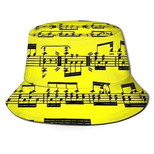 Sombrero Partitura Gorra para el Sol Sombrero para Exteriores Protección Solar UV Sombrero de Cubo Plegable Ligero Transpirable Unisex Negro