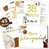 45 Schwangerschaft Gold Meilensteinkarten Modern Lineart Meilenstein Karten Set + magnetische Geschenkbox schöne Geschenkidee zur Geburt, Babyparty oder werdende Mama (Meine Schwangerschaftskarten)