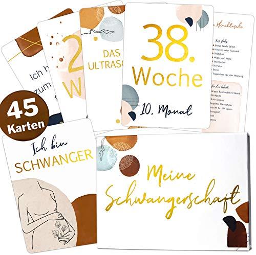 Juego de 45 tarjetas de embarazo, de oro con líneas modernas, con caja de regalo magnética, bonita idea de regalo para nacimiento, fiesta de bebé o futura mamá (tarjetas de embarazo)