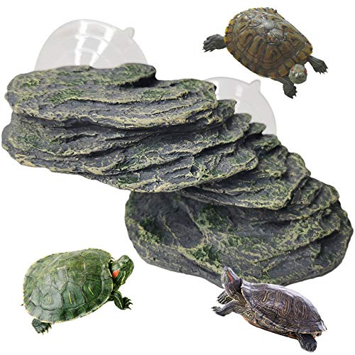 "Turtle Basking Platform Reptile Climbing Shale Resin Step Ledge Stone Aquarium Ornament Rock Landscaping Decoration with Suction Cups for Frogs Newts Amphibians Lizard (Medium:8.2""Lx3.3""Wx3.1""H)"