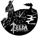 N/Z The Legend of Zelda - Reloj de pared de vinilo para adolescentes, frikis, gamer, decoración de videojuegos, sala de estar, dormitorio, estudio, reloj de pared, sin LED