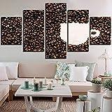 ZCYZYM Frijoles Canvas Art Pared Fotos for la Sala de 5 Piezas de café de Brown Copa Pintura HD Imprime Cocina/Cafe Cartel Decoración (Color : No Frame, Size (Inch) : Size1)