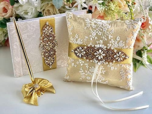 Gold Ring Pillow Lace Max 49% OFF Cushion Wedding G service