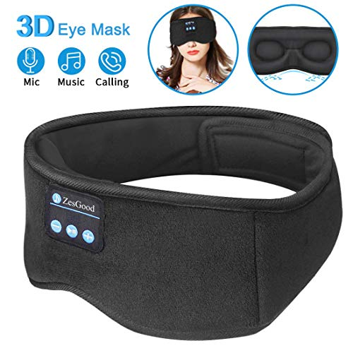 ❤️Upgraded 3D Sleep Eye Mask with Headphones :The sleep headphones mask adopted 3D ergonomic technology for eyes area,which designed with breathable and comfortable material,breathable slow rebound memory foam and smooth fabric let you release facial...