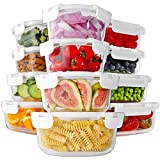 Bayco 24 Piece Glass Food Storage Containers with Lids, Glass Meal Prep Containers, Airtight Glass Lunch Bento Boxes, BPA Free & Leak Proof (12 lids & 12 Containers) - White