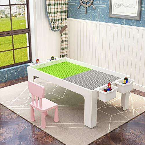 Mehrzweck-Aktivitäten-Tisch Kinder Gebäude Spielzeug Tisch Tisch Puzzle Montage Multifunktionale Spieltisch Kompatible Spieltisch für Babys Kleinkinder (Color : White, Size : 107 x 57 x 45cm)