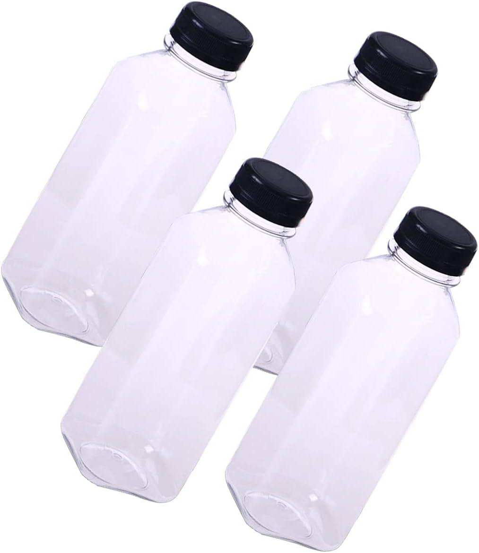 UKCOCO Botellas de zumo desechables de PET, transparentes, desechables, con tapas negras a prueba de manipulación, para licuadoras de agua/naranja y limón (4 unidades)