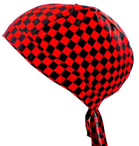 Tête de chiffon à carreaux homme femme enfant tête tuecher Noir Rouge à carreaux Petit Bandana Headscarf Punk Rock Pour Enfants et Adultes (Carreaux Petit) 4979
