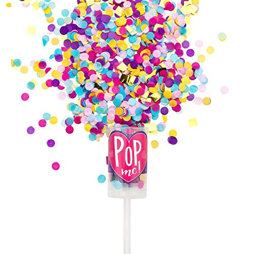 Pikka Pop Premium Konfetti Konfetti Shooter für Party Geburtstag Hochzeit. Konfetti Popper in Handtaschengröße für überraschende Momente, Lila - Gold, 3x Push Pop