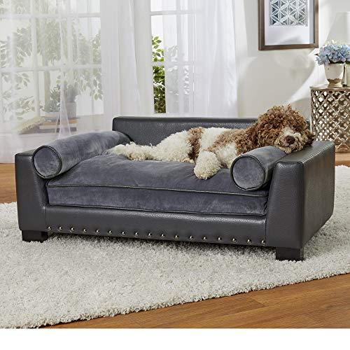 "Enchanted Home Pet Skylar Dark Grey Sofa for Dog, 42"" L X 26"" W, Large, Gray"