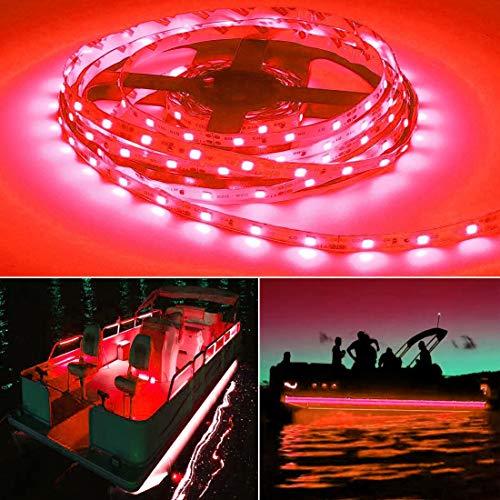 Seapon Pontoon Boat Light, Marine Led Light Strip for Duck Jon Bass Boat Sailboat Kayak Led Flex Lighting for Boat Deck Light Accent Light Courtesy Interior Lights Fishing Night, Red, 12v, 5m(16.4ft)