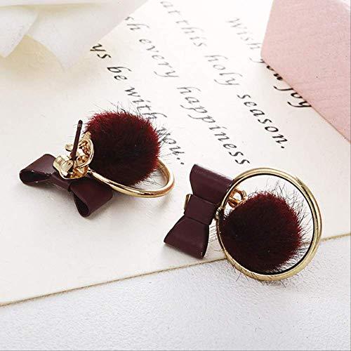 Sieraden voor vrouwenBowknot Ball Oorbellen Bow Tie Stud Earring Lovely Multicolor Ball Earring Jewelry Women Gifte0397 rood