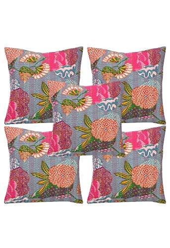 Sophia Art Lot de 5 housses de coussin indiennes faites à la main Motif fruits 40,6 x 40,6 cm Gris