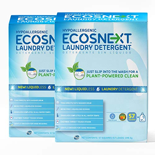 ECOSNext™ Liquidless Laundry Detergent Squares, Free & Clear, 114 loads (57 Count, 2 Pack) , Package May Vary