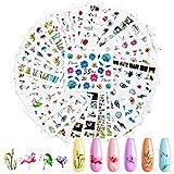 Hanyousheng Adesivi Unghie, 35 Fogli Adesivi Unghie Decalcomania Trasferimento ad Acqua, 3D Nail Stickers Water Decals, Colore Misto Adesivi Floreali, Autoadesivi Nail Art per Nails Fai da Te Arte