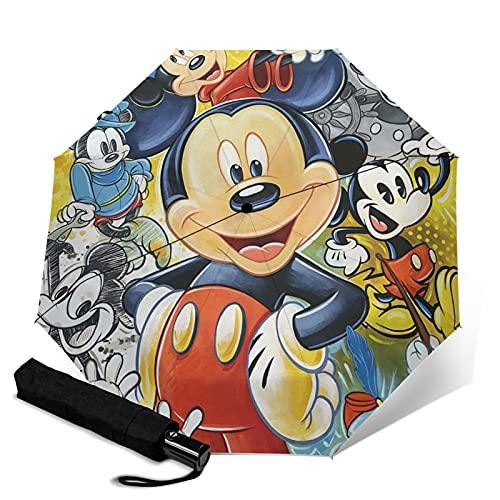 Mickey Cartoon Mouse Paraguas automático portátil de tres pliegues, cortavientos impermeable anti-UV, paraguas plegable automático abierto/cerrado, compacto y portátil