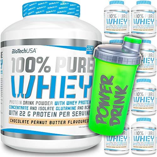 BioTech USA - 100% Pure Whey - 454g Beutel + C.P. Sports Shaker gratis/Mehrkomponentenprotein/Eiweiß/Casein/Isolat/Proteinkonzentrat (Bourbon-Vanilla)