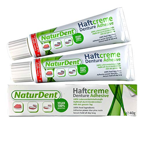 NaturDent Natural Denture Adhesive | Holds Dentures Longer and Stronger with NO Yucky Taste NO Zinc NO Paraben | Smile and Eat with Confidence | Gifts for Anyone with Dentures (2 Tubes)