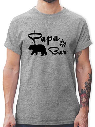 Vatertagsgeschenk - Papa Bär Lettering - L - Grau meliert - bär Tshirt - L190 - Tshirt Herren und Männer T-Shirts
