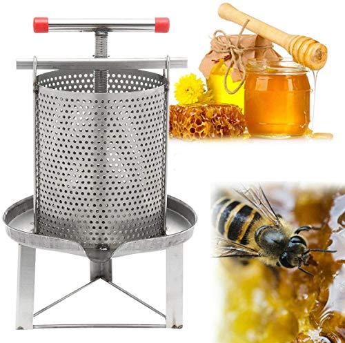 WUPYI2018 Extractor de miel de acero inoxidable, manual de uso doméstico, prensa de cera para apicultura, para miel, fruta, drenaje de presión de aceite
