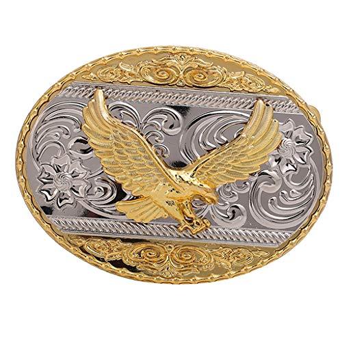 lahomia Hebillas De Cinturón De Vaquero Vintage Hebilla De Repuesto De Oval Indio De Rodeo Hebilla De Metal Tono Dorado - Águila, El 11x8cm